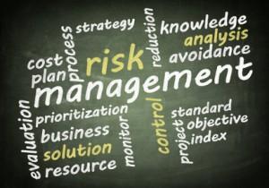 risk management word cloud concept on chalkboard